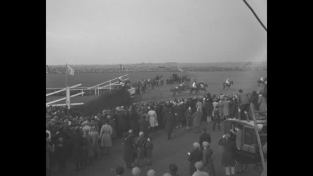 Grand National / crowd side view at a jump / all horses and jockeys clear the jump / next jump one horse and jockey down / home stretch shows Golden...