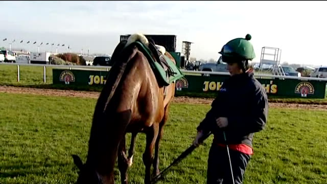 grand national meeting: second horse killed; t13041215 katie walsh holding reins of grand national horse seabass, which finished third in 2012 and... - zaum stock-videos und b-roll-filmmaterial