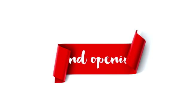 grand opening red scroll unrolls on a plain white background - opening ceremony stock videos & royalty-free footage