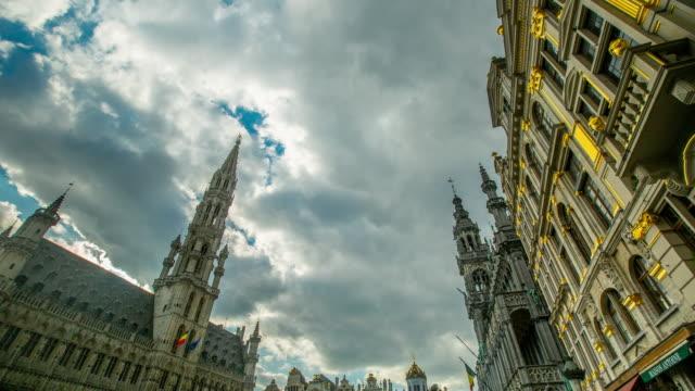 grand palace bussels landmark of belgium. - markt stock videos & royalty-free footage