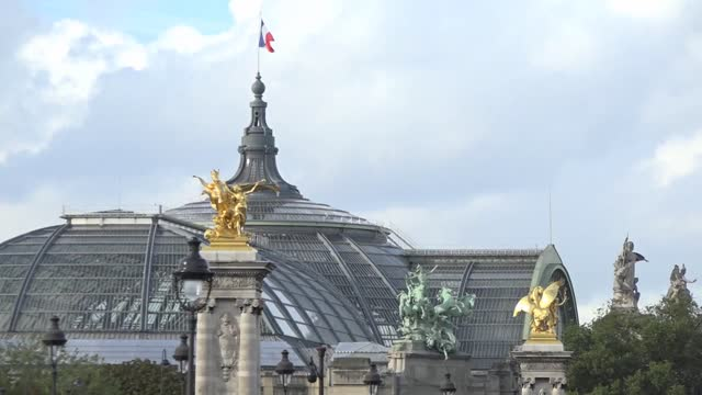 grand palais in paris - roof - french flag stock videos & royalty-free footage