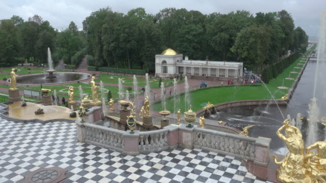 grand peterhof palace and the grand cascade. - female likeness stock videos & royalty-free footage