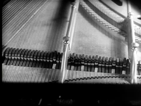 cu, b&w, grand piano and pensive woman, 1920's  - pianist stock videos & royalty-free footage