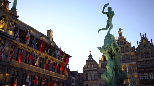 grand place in antwerp, realtime - belgium stock videos & royalty-free footage