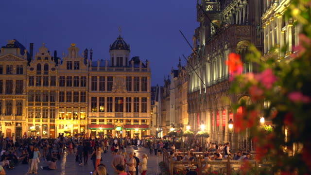 grand place in brussels by sunset - city of brussels stock videos and b-roll footage