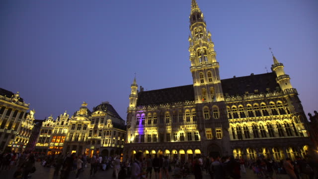 Grand Place in Brussels by sunset