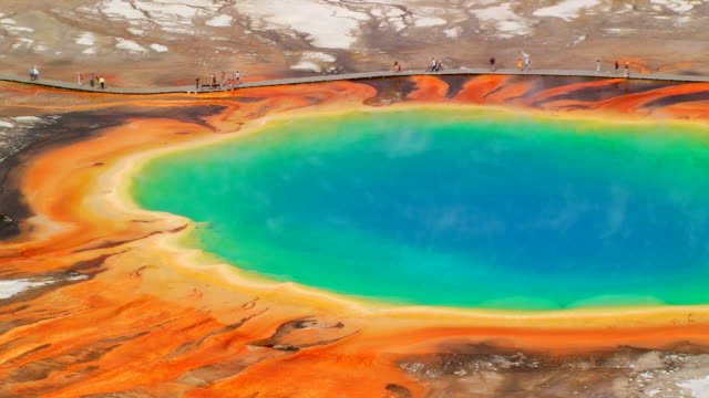 grand prismatic spring - wyoming video stock e b–roll
