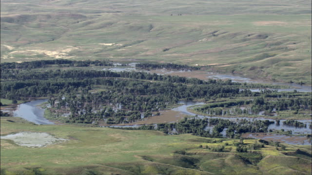 Grand River Outlet Into the Missouri River  - Aerial View - South Dakota, Corson County, United States