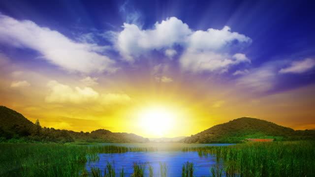 Grand pôr do sol na paisagem