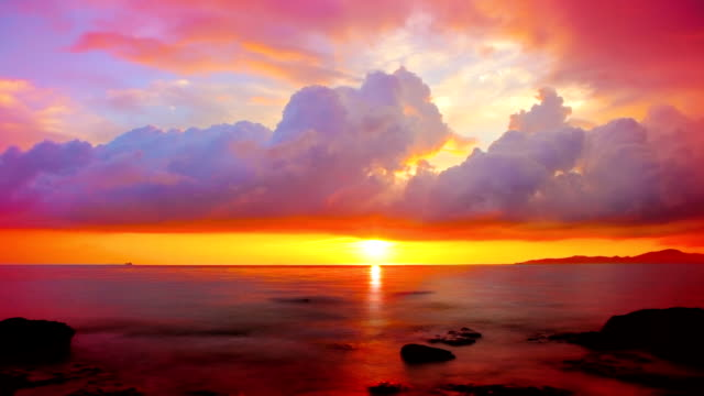 grand sunset over sea. - brightly lit stock videos and b-roll footage