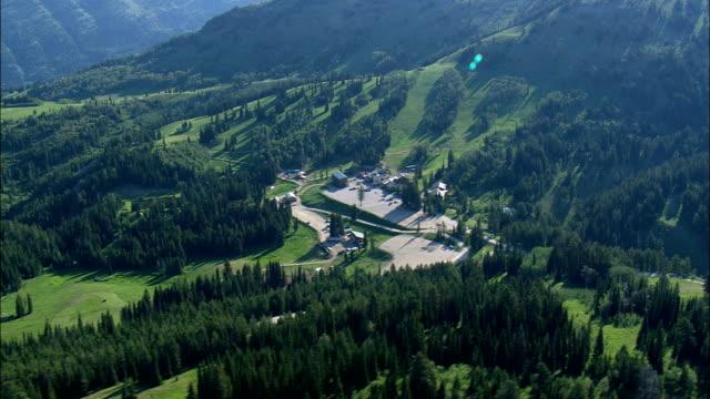 Grand Targhee Resort In Summer  - Aerial View - Wyoming,  Teton County,  helicopter filming,  aerial video,  cineflex,  establishing shot,  United States