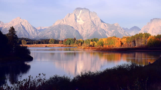 grand teton national park in fall - mt moran stock videos & royalty-free footage