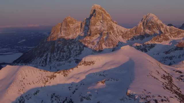 grand teton national park in winter aerial - epic film stock videos & royalty-free footage