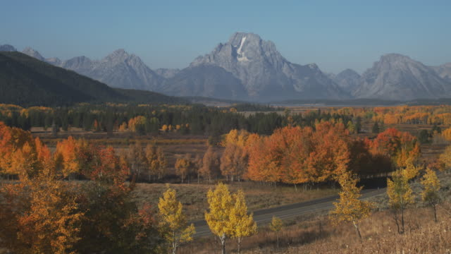 grand teton overlooks the national park. - grand teton stock videos & royalty-free footage