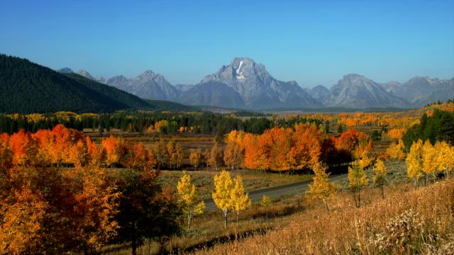 grand teton overlooks the national park. - grand teton stock videos & royalty-free footage