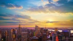 Grand view of Sunset over Manhattan