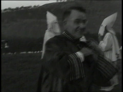 grand wizard of the kkk smiling and preparing for the rally / georgia, united states - 1949 stock videos & royalty-free footage