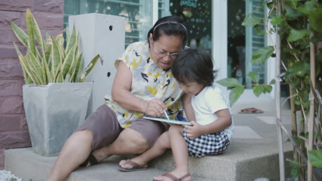 grandchild and grandmother are sitting drawing with digital tablet at front yard. - graphics tablet stock videos & royalty-free footage
