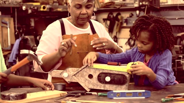 アクティブ シニア祖母の巣箱を構築ワーク ショップの孫。 - ロールモデル点の映像素材/bロール