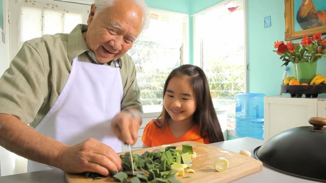 ms ds granddaughter (8-9) watching grandfather cutting vegetables for wok / los angeles, california, usa - 祖父点の映像素材/bロール