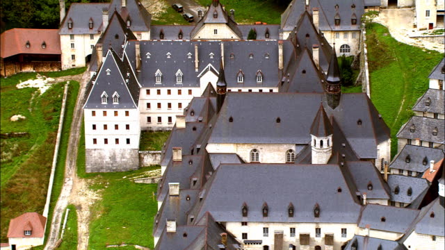 aerial ws zo grande chartreuse carthusian monastery in chartreuse mountains / saint-pierre-de-chartreuse, isere, france - circa 12th century stock videos & royalty-free footage