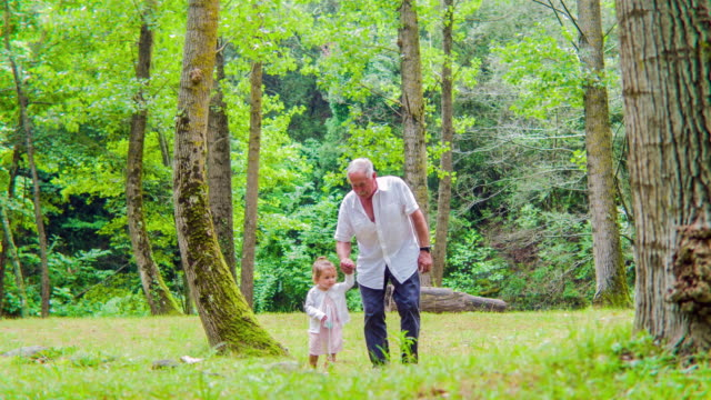 Grandfather and Granddaughter walking holding hands in the forest