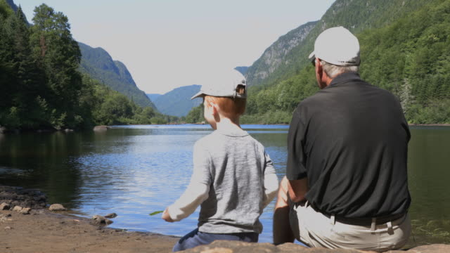 grandfather and grandson contemplating the lake and mountains in summer - parc national stock videos & royalty-free footage