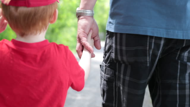 grandfather and grandson holding hands outdoors together while walking - grandson stock videos & royalty-free footage