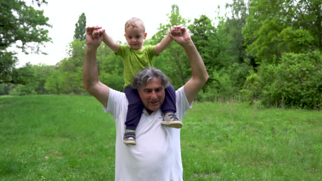 grandfather and grandson playing together - toddler stock videos & royalty-free footage