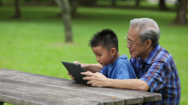 MS Grandfather and grandson sharing tablet device in park