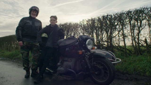grandfather and grandson - motorcycle stock videos & royalty-free footage
