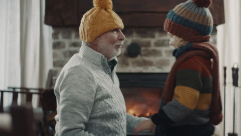 grandfather and grandson with winter cap's on their head's - warm clothing stock videos & royalty-free footage