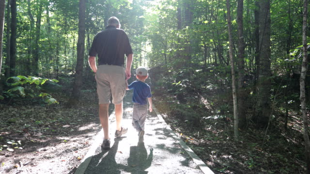vídeos de stock e filmes b-roll de grandfather and son exploring forest on hiking trail - trilho