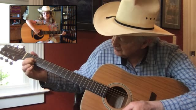 grandfather demonstrates how to play the guitar for his granddaughter via video call (audio) - cowboy hat stock videos & royalty-free footage