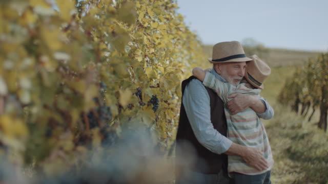 grandfather embracing grandson in vineyard - grandson stock videos & royalty-free footage
