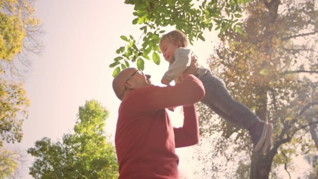 slo mo grandfather holding his toddler grandson in the air and spinning around in the sunny park - 60 64 years stock videos & royalty-free footage