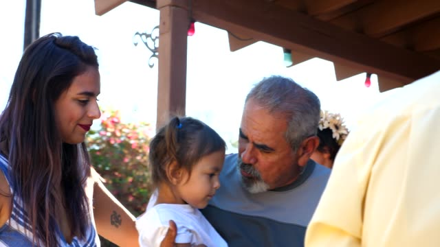 ms grandfather kissing granddaughter goodbye during backyard barbeque on summer afternoon - native american ethnicity stock videos & royalty-free footage