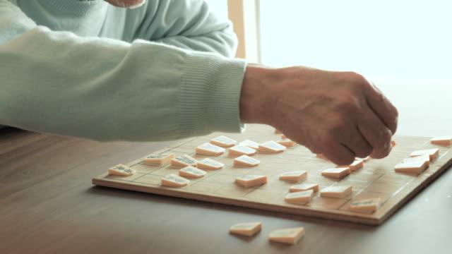 祖父と遊ぶ日本のチェス、孫ご自宅で - 大家族点の映像素材/bロール