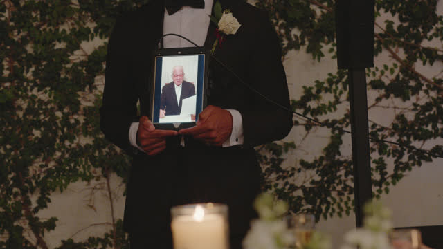 grandfather presents his toast to the bride and groom virtually - dinner jacket stock videos & royalty-free footage