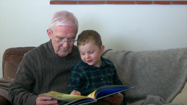 vídeos y material grabado en eventos de stock de grandfather reading with grandson - abuelo