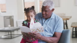 Grandfather Sitting On Sofa At Home Reading Book With Baby Granddaughter