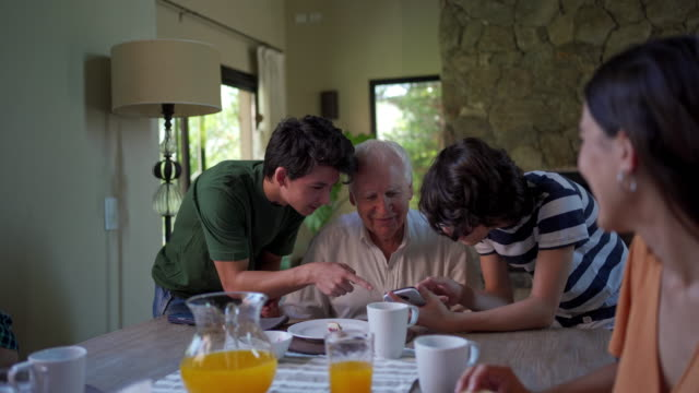 grandfather spending time with grandsons on a family gathering - nipote maschio video stock e b–roll