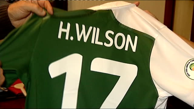 Grandfather wins bet on Wales debut footballer Harry Wilson Close shot of 'H Wilson' Wales football shirt Pete Edwards interview SOT re bet that his...