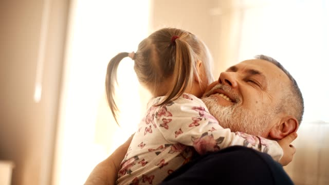 grandfather with his granddaughter - toddler stock videos & royalty-free footage