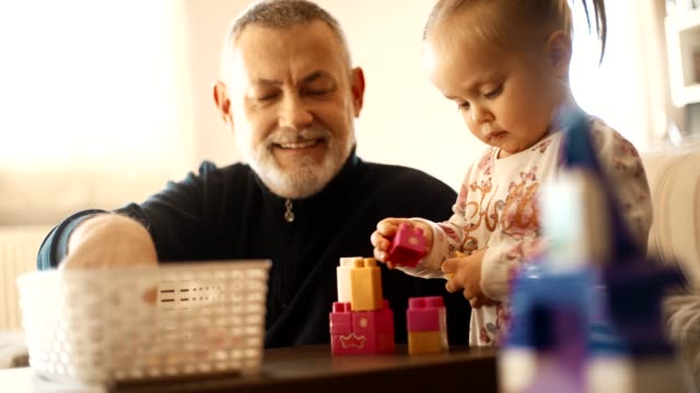 grandfather with his granddaughter - granddaughter stock videos & royalty-free footage