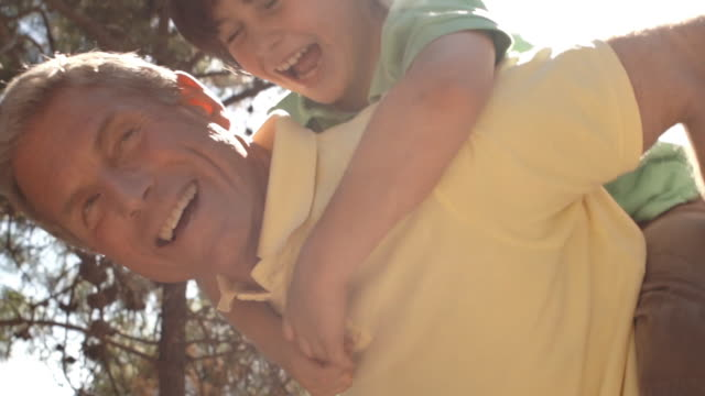 grandfather with playing with grandson on his back. - 祖父点の映像素材/bロール