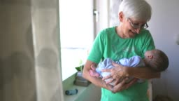 Grandma first time seeing new family member