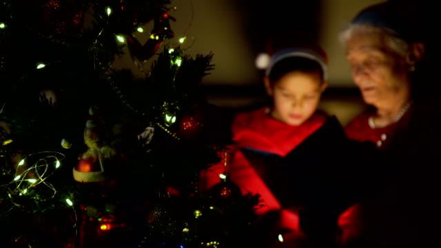 stockvideo's en b-roll-footage met grootmoeder en kleinzoon lezen sprookjes op kerstmis - prentenboek