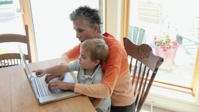 grandmother and grandson using laptop - baby boys stock videos & royalty-free footage