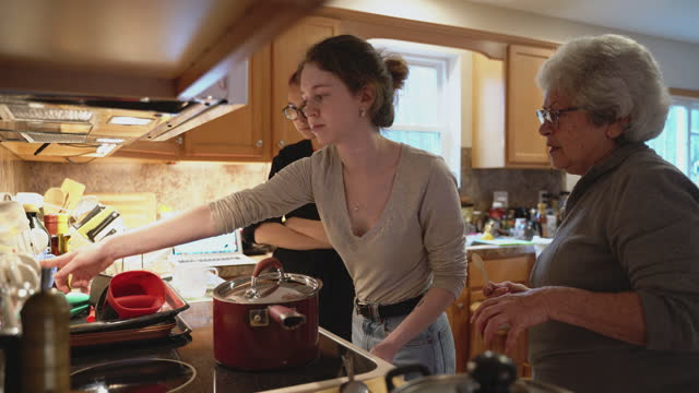 grandmother and her two granddaughters are cooking together for a family dinner in the domestic kitchen. the 19-years girl setting up the kitchen timer on the owen. - 16 17 years stock videos & royalty-free footage